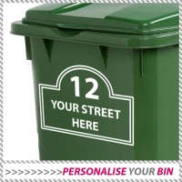 House Number & Street Name Wheelie Rubbish Bin Decal